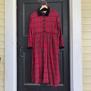 Red Tartan Plaid Prairie Pleated Vintage Dress